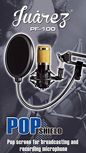 Juarez Pf-100 6-Inch Studio Microphone Pop Filter Shield Mask, Double Mesh Wind Screen With 360° Flexible Gooseneck And Quick Mount Or Release Clamp