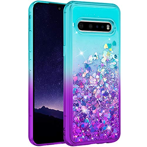 Ruky LG V60 ThinQ 5G Hülle, Gradient Quicksand Serie Glitter Bling Floating Liquid Clear Soft TPU Cute Protective Women Girls Cover Phone Hülle for LG V60 ThinQ 5G - Teal Purple