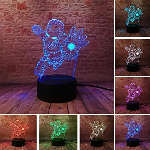 Novedad Marvel Avengers Figura superhéroe de dibujos animados Spiderman Iron Man Lámpara de mesa 3D Luz nocturna de humor LED USB Regalo para niños Juguetes para bebés Touch One 7 Color USB Niños Reca