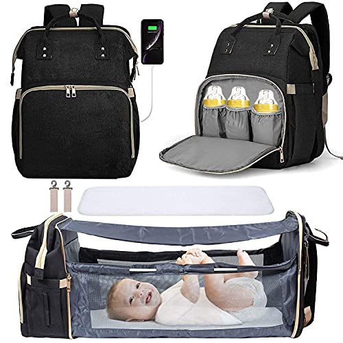 3 in 1 Travel Bassinet Foldable Baby Bed Diaper Bag Backpack Changing Station Waterproof USB Charging Port Baby Bag Portable Crib
