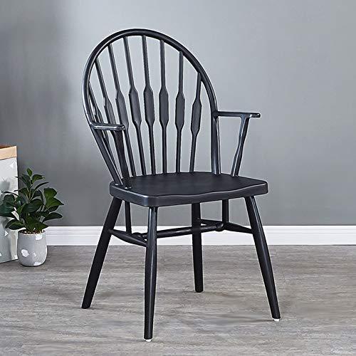 COLU Amerikanischer Windsor-Esszimmerstuhl, Haushaltshaushälften Und Erweiterter Sessel, Geeignet Für Esszimmer Und Schlafzimmer 0523Y(Color:schwarz)