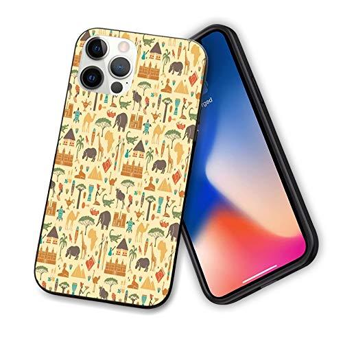 Compatible con la serie 2020 iPhone 12, diseño tradicional africano, cocodrilos y símbolos tribales bohemios de jirafas para IP12mini-5,4 pulgadas.