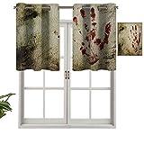 Hiiiman Panel de cortina de bloqueo UV para pared sucia, con impresión de mano sangrienta, diseño de palmas murky, víctimas violencia, juego de 2, 42 x 36 pulgadas para habitación de niños