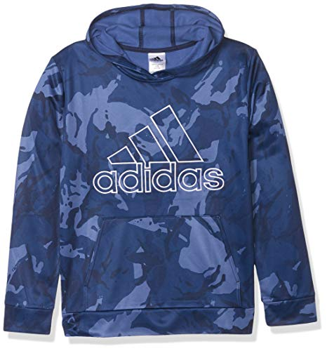 adidas Boys' Active Sport Athletic Pullover Hooded Sweatshirt, Core Camo Navy, Large