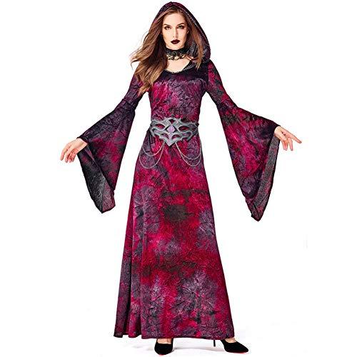 GBYAY Vino Rojo Bruja Cosplay Disfraz Bruja Vestido con Capucha para Mujer niña Fiesta de Disfraces de Halloween