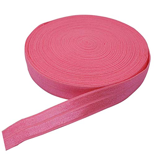 10 Yards Fold Over Elastic Stretch, Braided Elastic Ribbon for Hair Ties Headbands, Available in Various of Colours (Dark Pink, 5/8in)