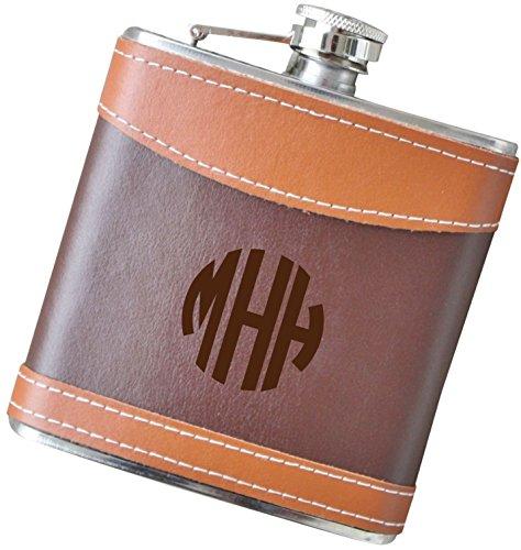 6 oz Block Monogram Flask, Genuine 2-Tone Leather Flask - F39.FSK128
