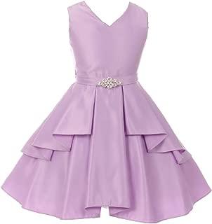 Little Girls Dull Satin Overlays Brooch Sash V Neck Easter Flower Girl Dress