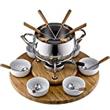 Style'n Cook Alexa Service à Fondue en Acier Inoxydable et Bois 18 cm