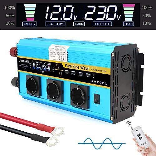 Wechselrichter 3000W /Spannungswandler Reiner Sinus 12V 230V mit 3 Europäische Steckdose und 4 USB-Anschlüsse LCD Spannungsanzeige 4 Umluftventilatoren