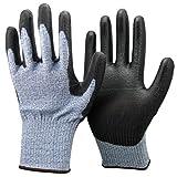 Unisex Negro y Azul anti Corte Nivel 5 (la más alta) Guantes. Certificado CE, ideales para los jardineros, trabajo, Bricolaje, Constructores, Electricistas y Fontaneros. (Medium)