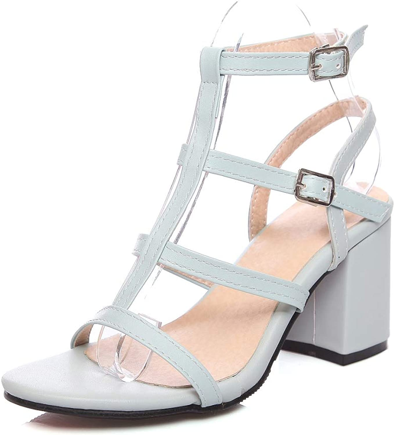 MEIZOKEN Women's Strappy Chunky Block Sandals Ankle Strap Open Toe Cutout High Heel Gladiator Sandals
