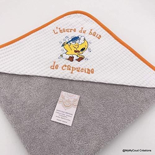 Sortie de bain bébé ou cape de bain personnalisée brodée petit canard cadeau de naissance Création Fait Main