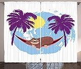 Tr674gs Funny Sloth - Juego de 2 paneles, diseño de hamacas y palmeras, diseño de hamacas y palmeras, color blanco y multicolor