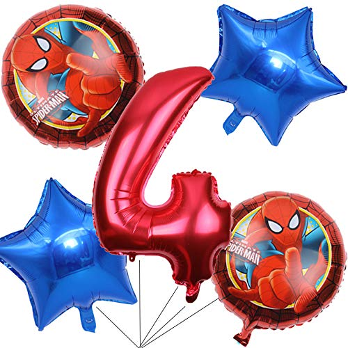 BCD-PRO Superhero Spiderman Balloons Bouquet 4th Birthday 5 pcs - Party Supplies - Ribbons included