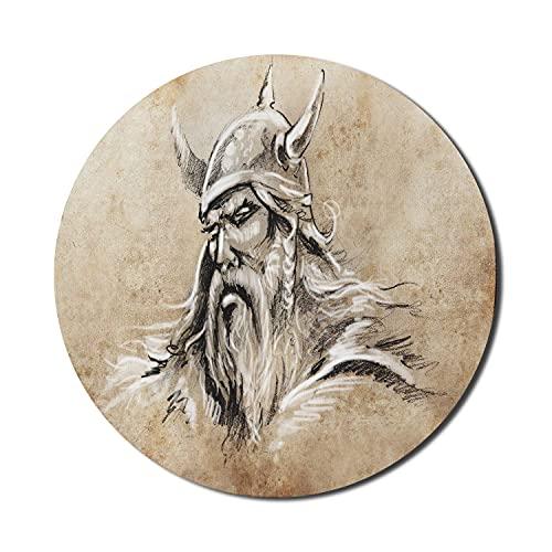 Viking Mouse Pad für Computer, Skandinavischer Krieger im Sketch-Stil mit Bart und Hut Männliches Porträt-Tattoo, rundes, rutschfestes, dickes, modernes Gaming-Mousepad aus Gummi, 8 \'rund, beige beige