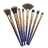 8 pinceles de maquillaje set de pinceles de maquillaje herramientas de belleza mango de plástico patrón prismático pincel de maquillaje de unicornio