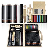 CONDA 36 pcs Drawing and Sketching Art Set Colored Pencils, Art Kit for Kids, Teens and Adults/Gift Wooden Box Set for Drawing Acrylic Pastels Brushes Sketching Painting