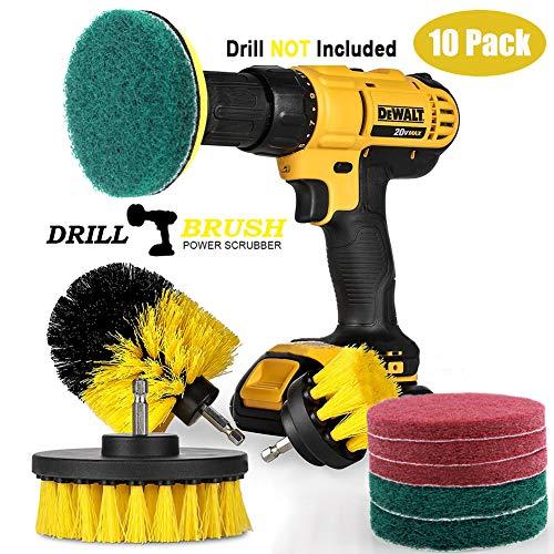 Swonuk Drill Brush, 10pcs Cepillos Taladro Accesorio Scrub Brush Kit Power Scrubing Auto Cepillo para Coche, Alfombra, Cuarto de baño, Suelo de Madera, lavadero, Cocina