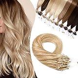 Elailite Extensiones Anillas Cabello Natural sin Clip Pelo Humano Micro Ring 1 Gramo 50 Mechas 100% Remy Human Hair 40cm 50g #18P613 Ash Rubio Balayage Rubio Muy Claro