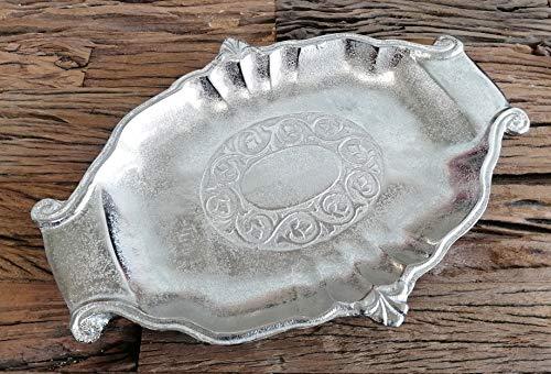 Schale Silber Dekoschale Deko Aluminium (Metall) Oval, Deko Modern, Wohnzimmer und Küche, Tischdeko Hochzeit 37 cm