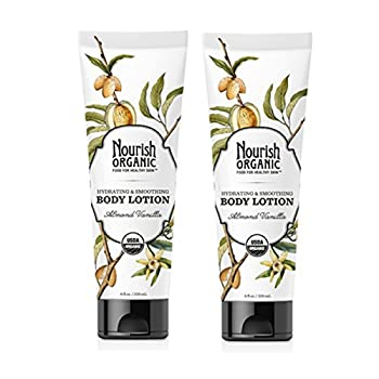 Nourish Organic Hydrating and Smoothing Almond Vanilla Body Lotion with Aloe Vera Shea Butter and Acai 8 fl oz  Pack of 2