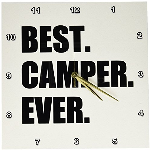 3dRose DPP_179763_2 Best Camper Ever Bold Text for Camping Fan Or Camp Hater Ironic Use Wall Clock, 13 by 13""