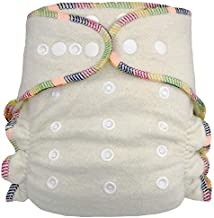 Fitted Cloth Diaper: Overnight Diaper with 2 Cotton Hemp Inserts, One Size with Snap Buttons (1-pack)