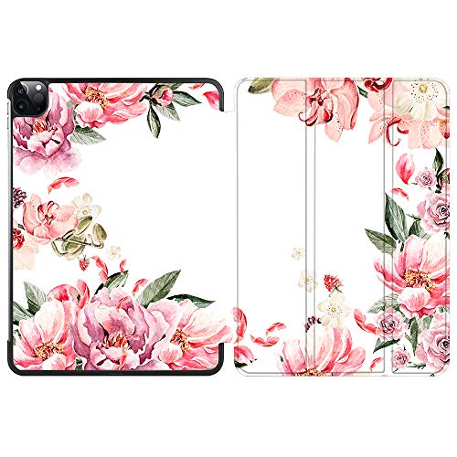 SDH Smart Cover for iPad Pro 12.9-inch Case 2020 4th Gen, Leather Folio Stand Protective Shell with Auto Sleep/Wake Compatible with Apple iPad 12.9' 2020 A2229 / A2233,Flower World 11