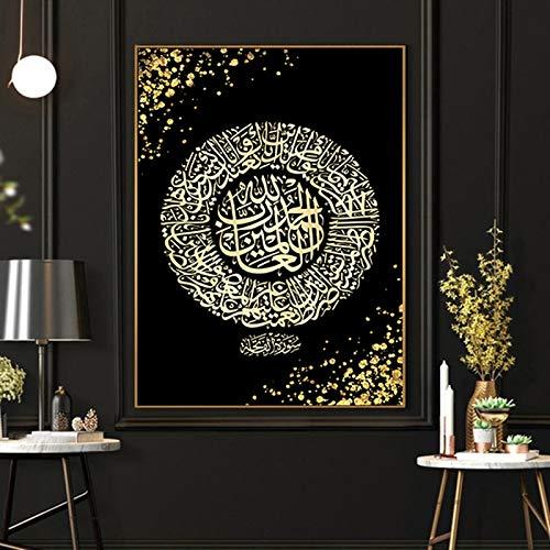 ABcvuz 5D Diamond Painting DIY Kits,Full Round Drill,Islamische goldene muslimische Kalligraphie 40x50cm,Strass Kristallzeichnung Geschenk für Erwachsene Kinder Mosaik Kunst Dekoration Machen
