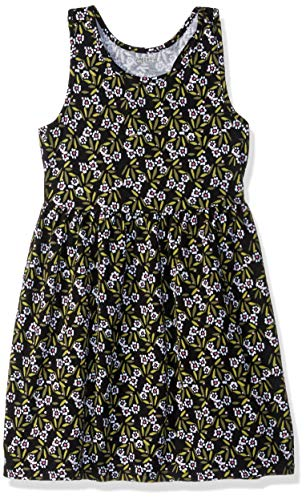 Gymboree Girls' Big Sleeveless Casual Knit Dress, Black Ditsy Floral, M
