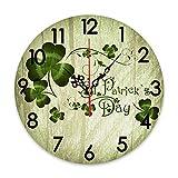 ZORMIEY Reloj de Pared Redondo, Funciona con Pilas, día de San Patricio, trébol irlandés Celta, celebración de trébol, Relojes de Pared silenciosos, sin tictac, fácil Lectura, Decorativo para Cocina,