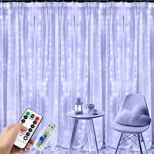 Cortina LED Cadena Luces Control Remoto USB Año Nuevo Guirnalda Lámpara Decoración de Vacaciones para el Hogar Dormitorio Ventana Navidad