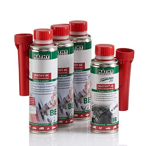 MATHY Benzin-Kur Reinigungsset Benzin System + Injektoren, 3 x 250 ml + 200 ml - Benzin Additiv - Einspritzdüsen Reiniger - Brennraum Reiniger - Injektorpflege - Kraftstoffadditiv Benzin Motoren