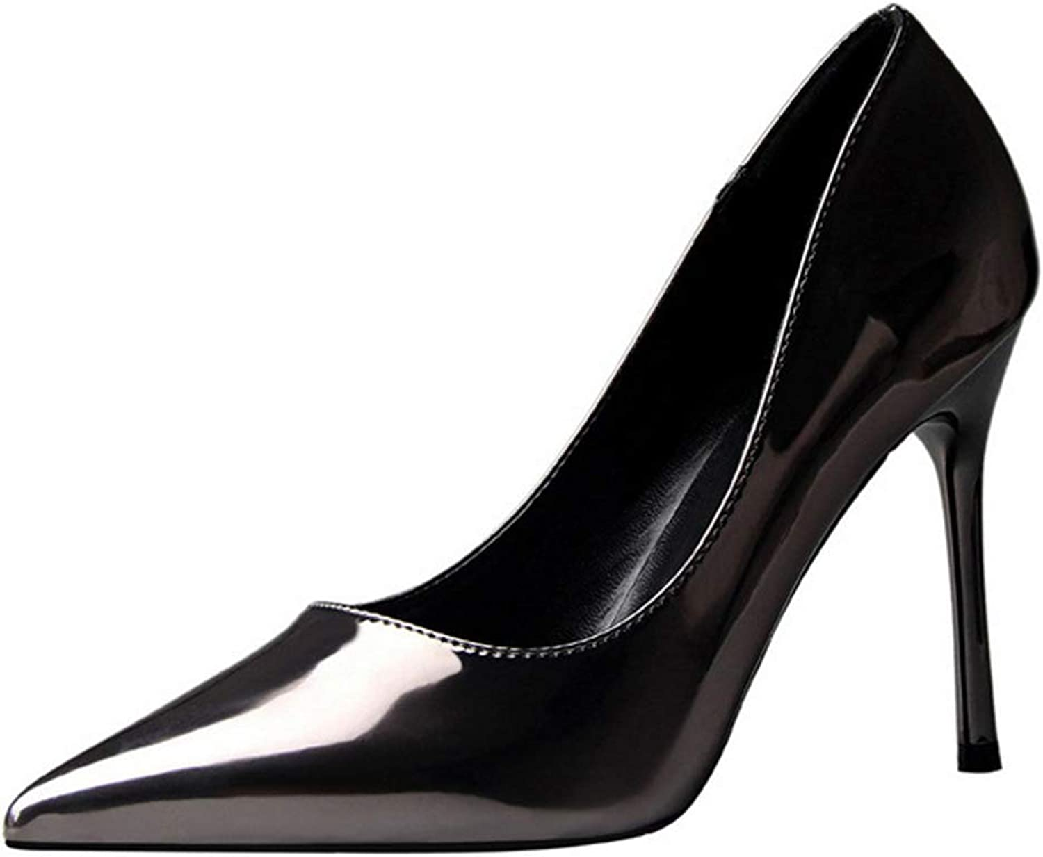Drew Toby Women Pumps Patent Leather Concise Shallow Office Fashion Pointed High Heels