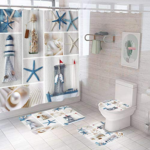 4PCS SailBoat Beach Starfish Shell Bath Curtain Sets with Colorful Non-Slip rugs mat U-shaped Contour Rug Mats and Toilet Lid Cover Set, Decor Shower Curtains 12 Hooks Durable Waterproof for Bathroom