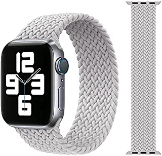 Silicone Braided Solo Loop Elastic Band Strap Small Size 42mm / 44mm For Apple Watch Series 1/2/3/4/5/6/SE - Light Grey