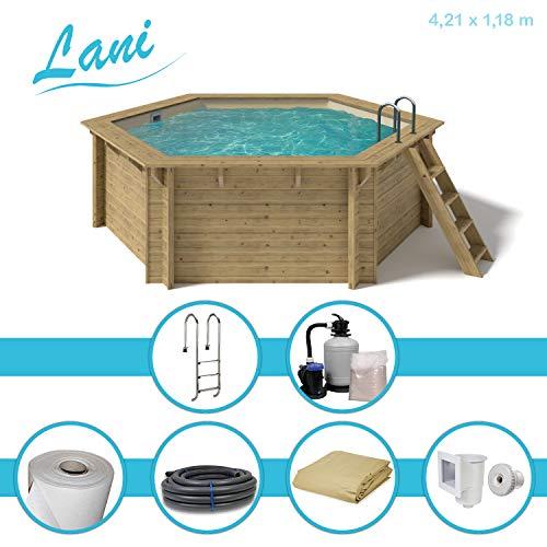 Paradies Pool® Holzpool Lani Premium Komplettset inkl. Sandfilteranlage für 50er Verrohrung, Tiefbeckenleiter, Folie Sand mit 0,6mm Stärke, Sechseck-Pool, 421 x 118 (Ø x H), Menge: 1 Stück
