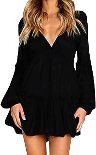 Elecenty Rüschenkleid Midikleid Damen,Reizvolle Frauen Swing-Kleid Tief V-Ausschnitt Abendkleid Langarm Kniekleid Laternenhülse Partykleid Herbstkleid Ballkleid