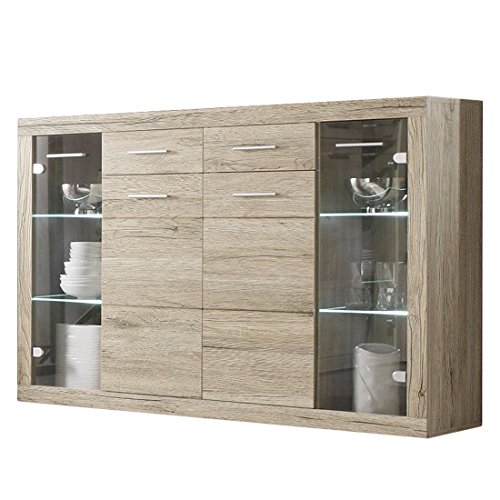 Stella Trading Can Can 5 Highboard, Holzdekor, Sonoma, 152 x 105 x 40 cm