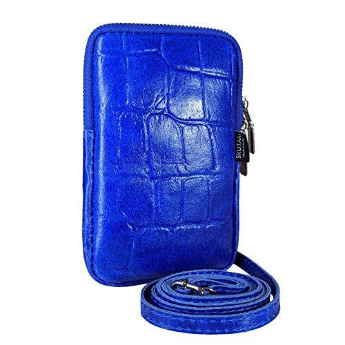 SKUTARI PELLE CROCO Cellulare da donna in vera pelle di borsa a tracolla, portafoglio, borsa per cellulare in pelle, tracolla lunga, 11cm x 17cm 2cm - MADE IN ITALY