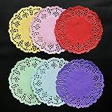 Alician - 100 pezzi di carta per decoupage in pizzo rotondo da 8,9 cm 100 pezzi rossi.