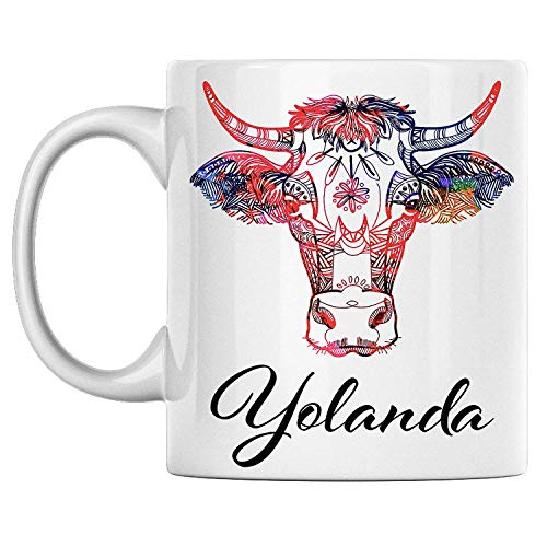 aza de vaca personal Nombre Yolanda Taza de café de cerámica blanca impresa en ambos lados, perfecta para cumpleaños para él, ella, niño, niña, esposo, esposa, hombres y mujeres