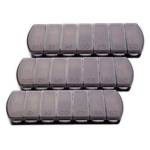 Schramm® 3 stuks tablettenbox zwart 11×4 x1,5 cm pillen tabletten doos 7 dagen doos tablettendoos 3-pack pillendoos…