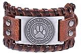 LIKGRAN Pulsera de piel con 24 runas vikingas, diseño de pata de lobo nórdico, para hombre,...