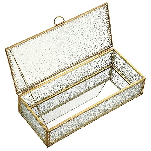 SUMTREE Joyero vintage con tapa de cristal y metal, joyero para joyas pendientes y anillos, regalo para el Día de la Madre y bodas, cumpleaños (rectangular, dorado)