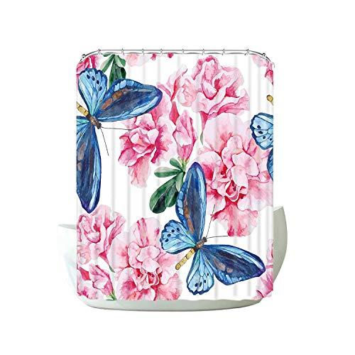 HOT-house Bleu Papillon Volant Salle De Bains Rideau De Douche Fleur Motif Rideaux pour La Maison Étanche Facile Clean-STSC019-2-150 * 180 cm