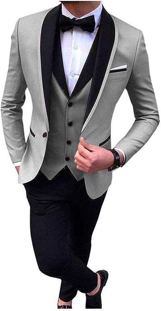 Men's Regular Fit One Button Suits Shawl Lapel Blazer Pants Formal Suits Wedding Suits for Men