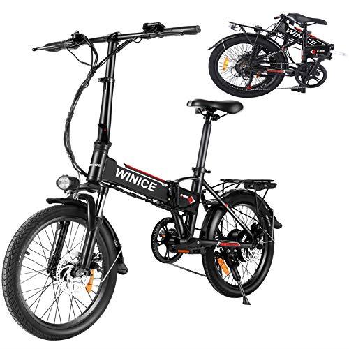 """Vivi 20"""" Bici Elettrica, 250W Bicicletta Elettrica Pieghevole con 36V 8Ah Staccabile Batteria Al Litio/Luce Bici/Campanello, Cambio Shimano 7 Velocità E-Bike para Adultos (20 Pollici- Nero)"""