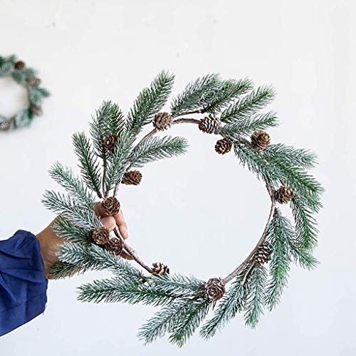 Christmas Pine-Cone Wreath for Front Door, Artifical Hanging Garland Wall Ornament for Thanksgiving Day Home Party Indoor Outdoor Decor (Color : L Size)